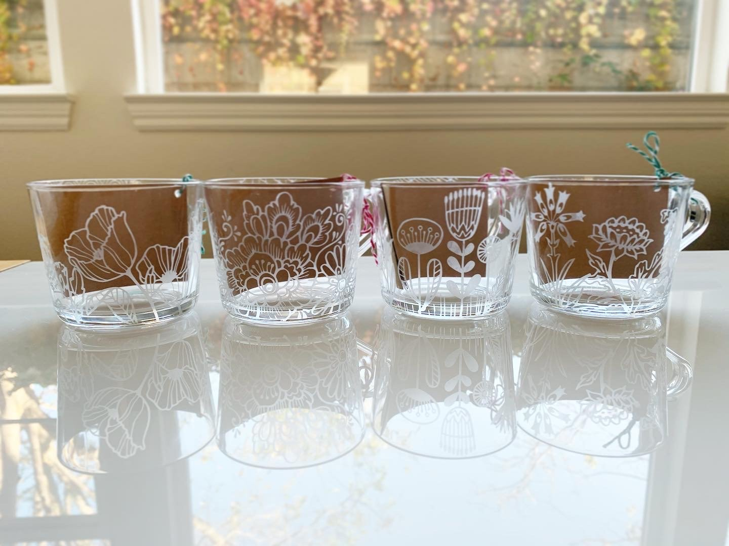 floral etched glass mugs